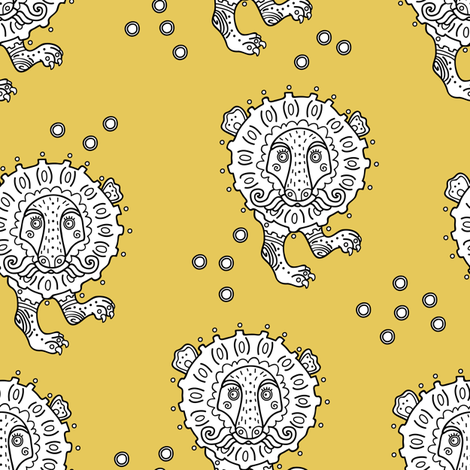 lion_gold fabric by yuliia_studzinska on Spoonflower - custom fabric