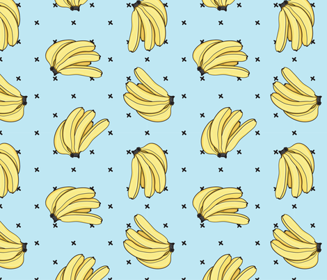 Banana Bunch, Blue fabric by karen_illustrates on Spoonflower - custom fabric