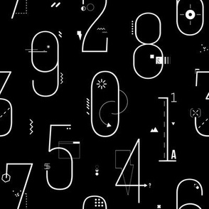 Line art numbers abstract futurism