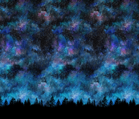 Star night, forest silhouette with sky and thousands of stars fabric by rebecca_reck_art on Spoonflower - custom fabric