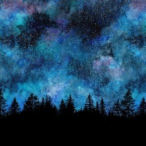 Star night, forest silhouette with sky and thousands of stars