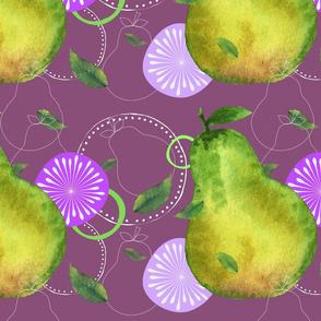 Pear drops on grape