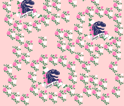 Clever Girl Dinosaur Print fabric by kapotka on Spoonflower - custom fabric