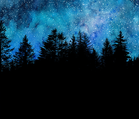 Star night sky over the forest fabric by rebecca_reck_art on Spoonflower - custom fabric