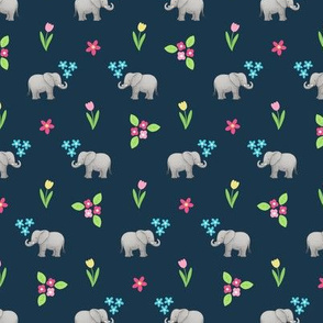 Little Elephants Flowers on dark navy-grey