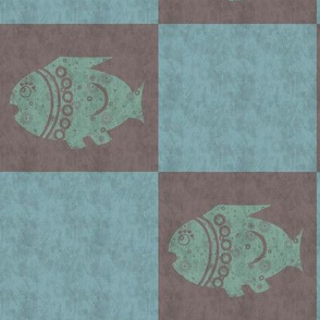 TWO COLOR  SQUARES  AND FISH