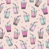 Cool celebration bubble tea to go cups with Japanese drinks on soft pink background