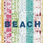 Beach stripes  - 1867  BEACH denim -Lagoon  tropics