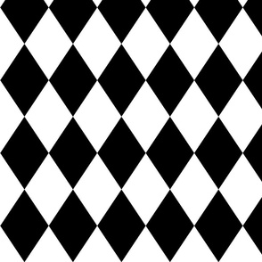 Classic Black and White Harlequin Diamond Check