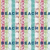 Beach stripes  whitewash - 7 BEACH denim -Lagoon  tropics