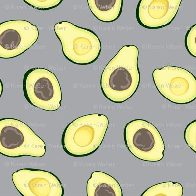 Avocado Halves, Grey
