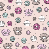 Magic Sea shell mermaid and under water pearls little gem pattern girls pink