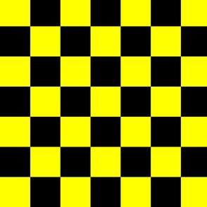 Bright Fluorescent Yellow Neon & Black Checked Checkerboard