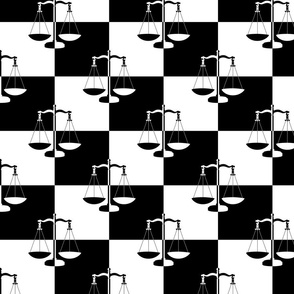 Black and White Checkerboard Scales of Justice Legal Pattern