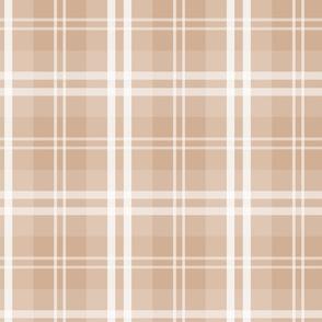 Designer Color Light Hazelnut Brown Tartan Plaid Check