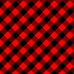 Diagonal Red and Black Buffalo Check Plaid Tartan