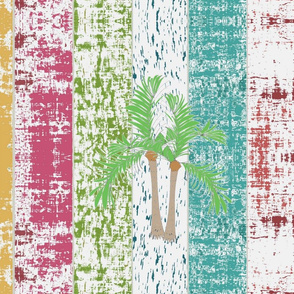 Beach Stripes Whitewash Palms 1956 HORIZONTAL -lagoon tropics