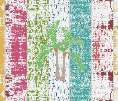 Beach Stripes Whitewash Palms 7  HORIZONTAL -lagoon tropics-ed