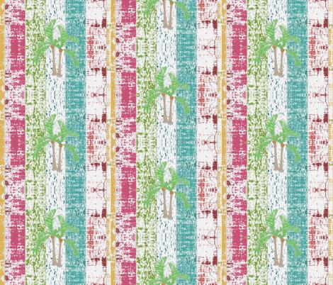 Beach Stripes Whitewash Palms 7  HORIZONTAL -lagoon tropics-ed fabric by drapestudio on Spoonflower - custom fabric