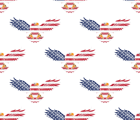 American Eagle Large Pattern on White fabric by artsytoocreations on Spoonflower - custom fabric