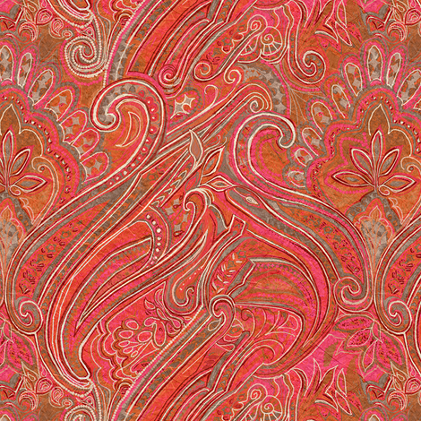 paisley_red-pink fabric by wren_leyland on Spoonflower - custom fabric