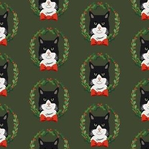 Cats tuxedo coat christmas cat fabric green