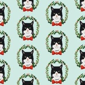 Cats tuxedo coat christmas cat fabric blue