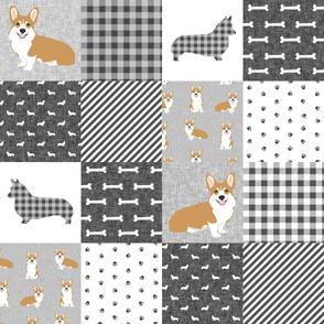 corgi cheater pet quilt e dog breed fabric grey