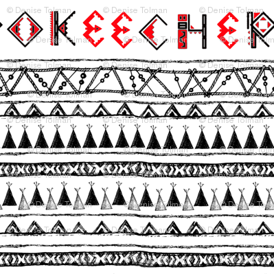Native American Cherokee B&W Stripe