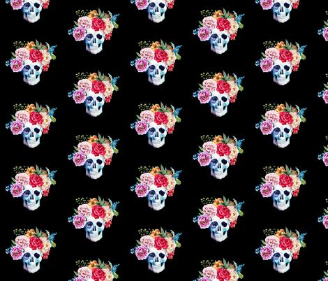 "4"" COLORFUL SKULL BLACK fabric by rebelmod on Spoonflower - custom fabric"