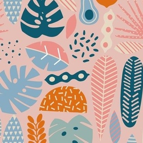 Tropical pattern in retro pink