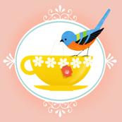 Tea Time Bird On Peach