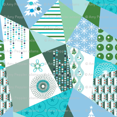 Patchwork Presents* (Polymer) || holiday christmas geometric tree snowflake star holly stripes polka dots diamonds pastel green