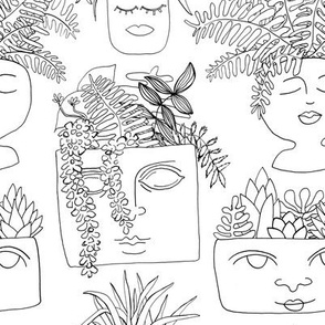 Illustrated Plant Faces in White