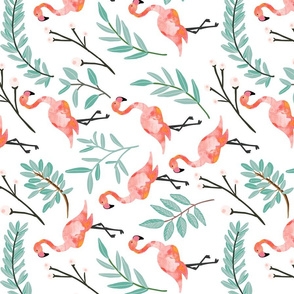 Coral Flamingos in Shade // rotated