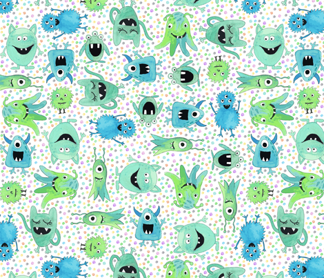 Funny monsters - dots fabric by diseminger on Spoonflower - custom fabric