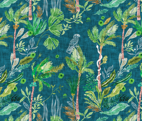 Paradisio  Forest (emerald) LRG fabric by nouveau_bohemian on Spoonflower - custom fabric