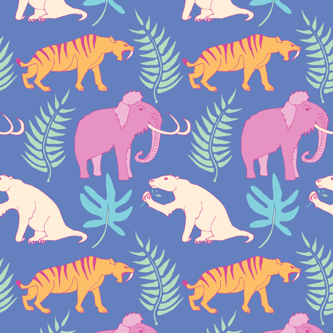 """She""-historic-- Ice Age Animals  fabric by katie_hayes on Spoonflower - custom fabric"
