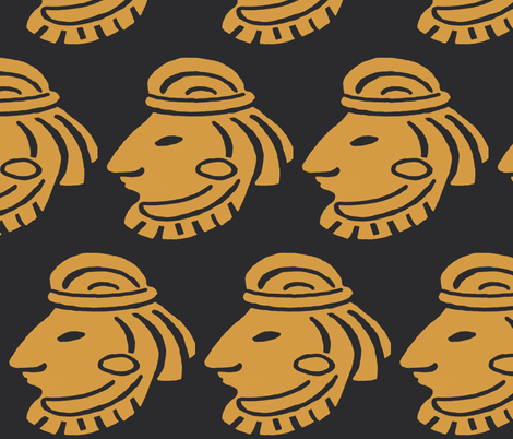 Inca Warrior Gold on Black fabric by fabric_is_my_name on Spoonflower - custom fabric