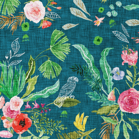 Paradisio   Bloom (teal) MED fabric by nouveau_bohemian on Spoonflower - custom fabric