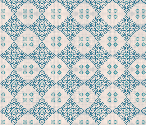Bohemian Teal Tiles fabric by babyancestree on Spoonflower - custom fabric