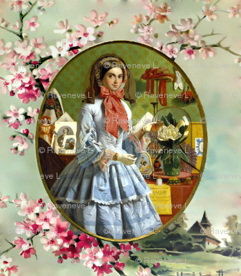 cherry blossoms sakura trees gold frame pink victorian bonnets hats beautiful young woman lady flowers floral bows blue gowns 19th century garden white green gilt houses romantic beauty vintage antique elegant gothic lolita egl layered crinoline puffy ski