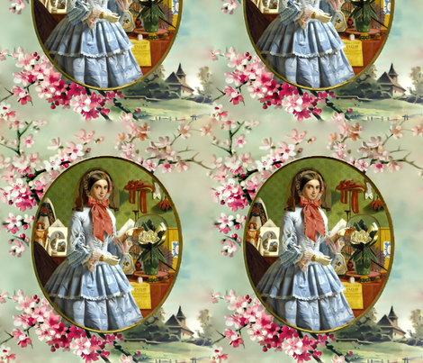 cherry blossoms sakura trees gold frame pink victorian bonnets hats beautiful young woman lady flowers floral bows blue gowns 19th century garden white green gilt houses romantic beauty vintage antique elegant gothic lolita egl layered crinoline puffy ski fabric by raveneve on Spoonflower - custom fabric