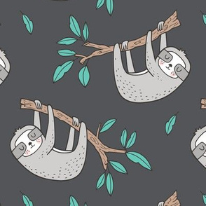 Sloth Sloths on Tree Branch with Leaves on Dark Grey