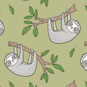 Sloth Sloths on Tree Branch with Leaves on Light Olive Green
