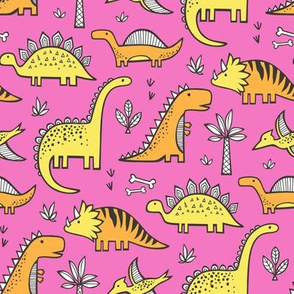 Dinosaurs in Orange Yellow on Dark Pink