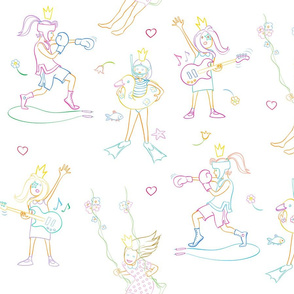 playing princess outlines in gentle color