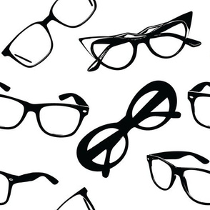 Glasses Black on White
