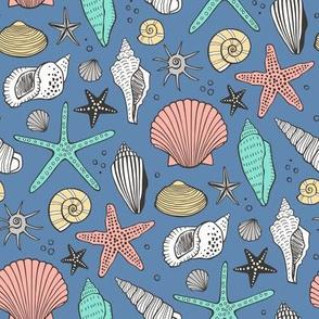 Seashells Nautical Ocean Shells Peach Mint Green on Dark Blue Navy