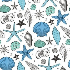 Seashells Nautical Ocean Shells Blue Mint Green on White